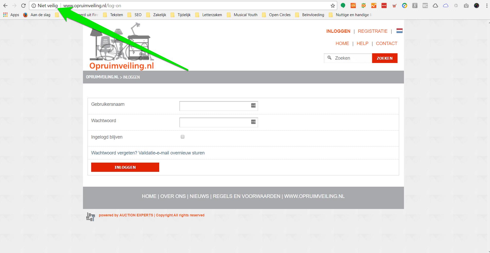 Inlogpagina gemarkeerd als niet veilig in Google Chrome vanwege ontbreken HTTPS