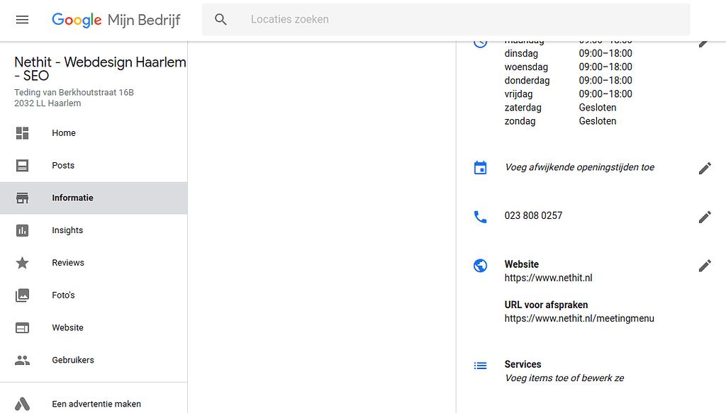 Google Mijn Bedrijf Services