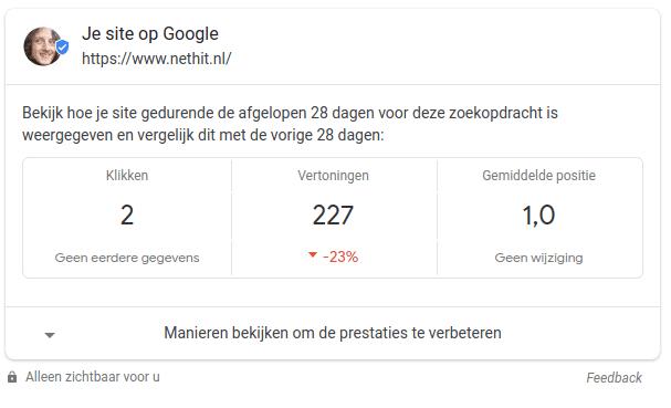 Google Search Console Statistieken zichtbaar in de Google zoekresultaten