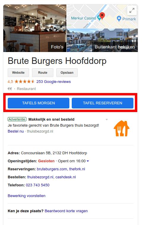 Tafel reserveren direct in Google Search.
