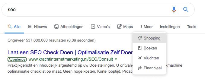 Sinds juni 2019 plaatst Google iconen onder de zoekbalk bij de categorieën. De verticalen zoals afbeeldingen, Maps en boeken worden zo visueel ondersteund.