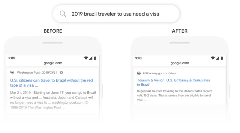 Google BERT update voorbeeld