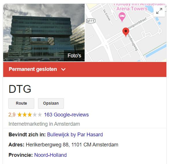 De Google Knowledge Panel van DTG Amsterdam geeft aan dat het bedrijf hier permanent gesloten is.